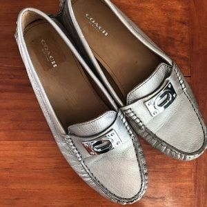 COACH Leather Napoleon Pewter Loafer Moccasins 8.5
